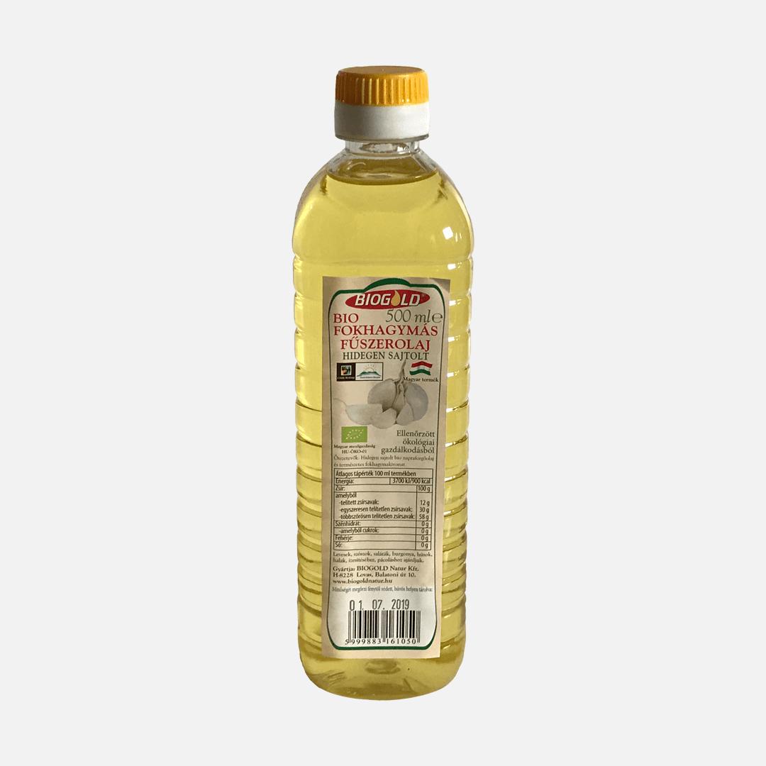 Biogold bio fokhagymás fűszerolaj 500 ml-es átlátszó flakonban.